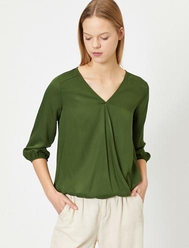 Koton V Yaka Bluz Yeşil